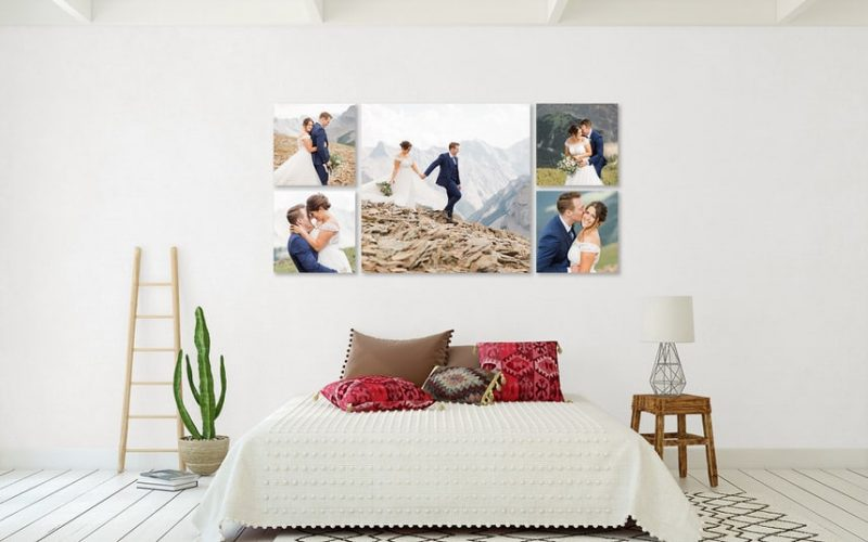 Canmore wedding photos of clients shown as wall art photographed by Geoff Wilkings Photography