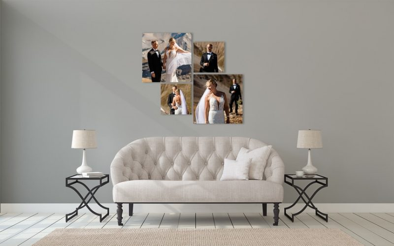 Banff elopement mountain top wedding photographs as wall art in a clients home