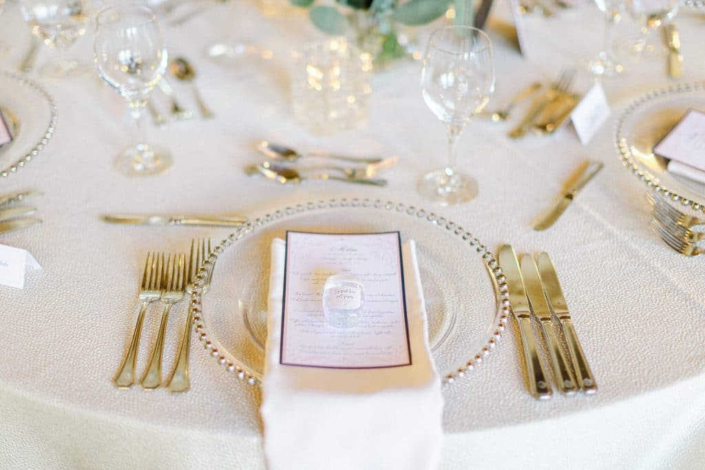 Banff Springs Hotel reception wedding detail photographed by Geoff Wilkings Photography