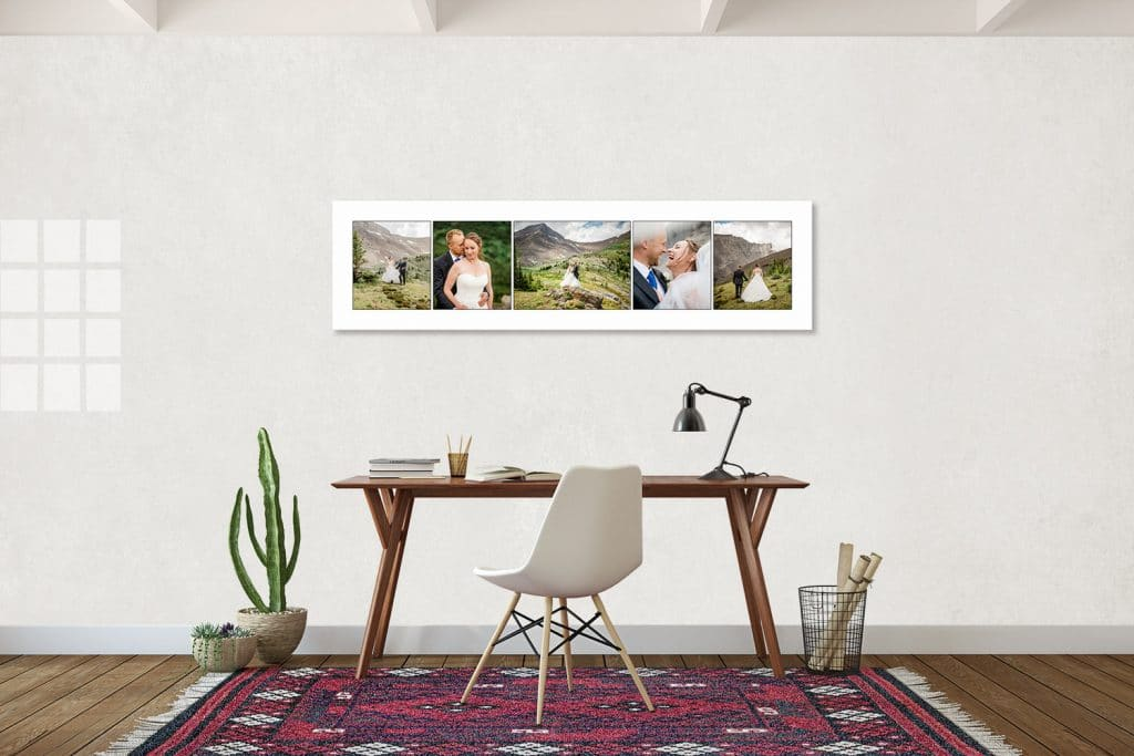 Wall art photographs from a helicopter elopement in Canmore Alberta