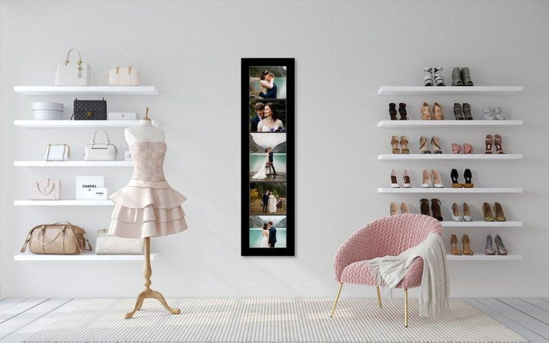 Lake Louise wedding photographs displayed as wall art in a client home