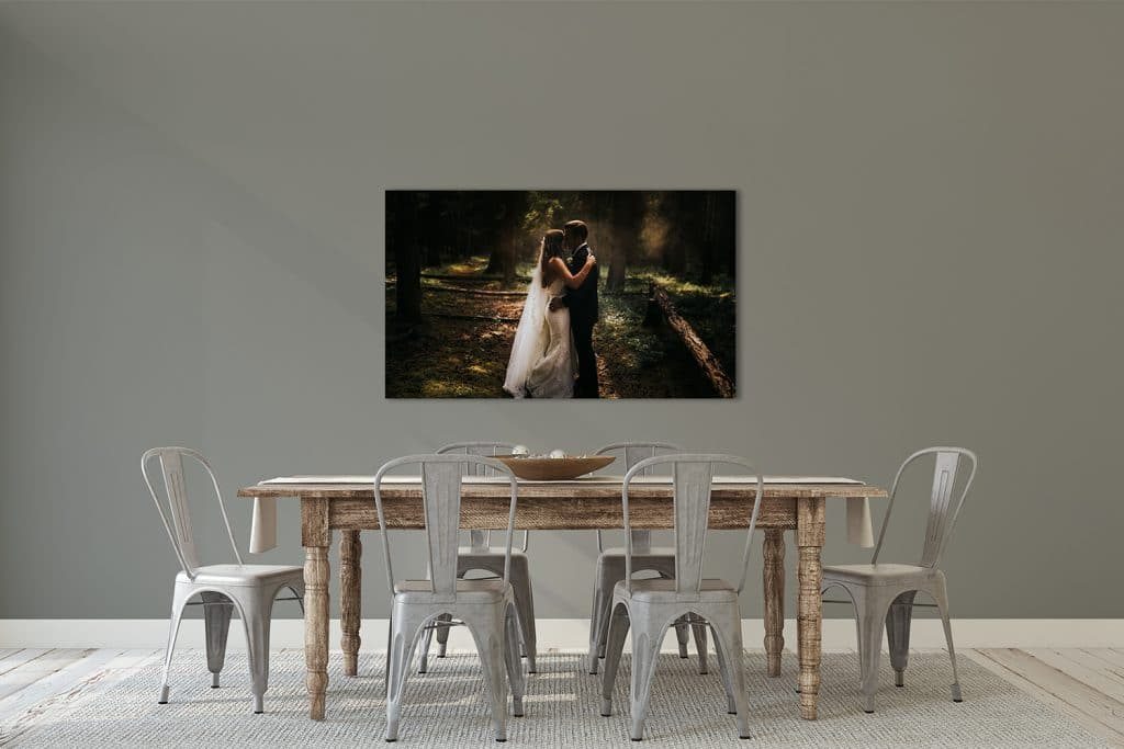 Banff wedding photograph displayed as wall art in clients home