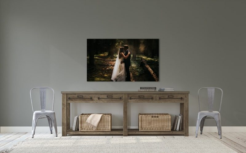 Banff National Park bride and groom holding each other shown as wall art wedding photos