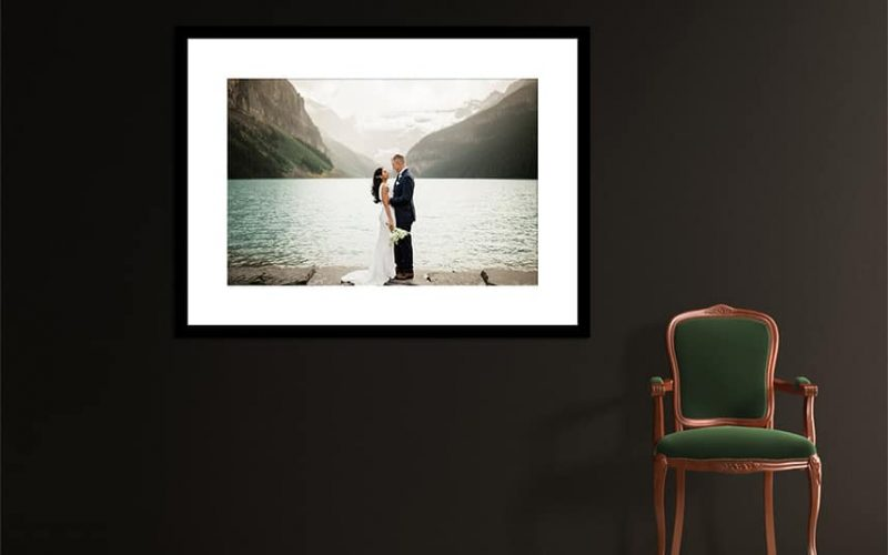 Single photo displayed as art work in a clients home of Chateau Lake Louise The Canadian Rockies