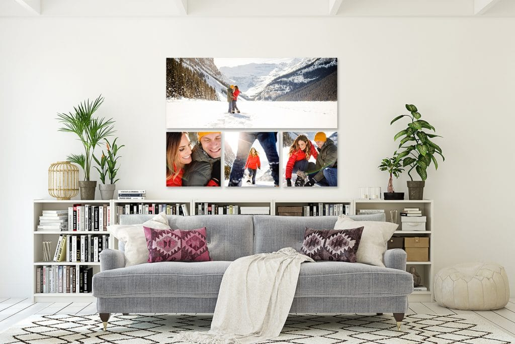 A collection of photographs displayed as wall art from an engagement shoot in Lake Louise during the winter months.
