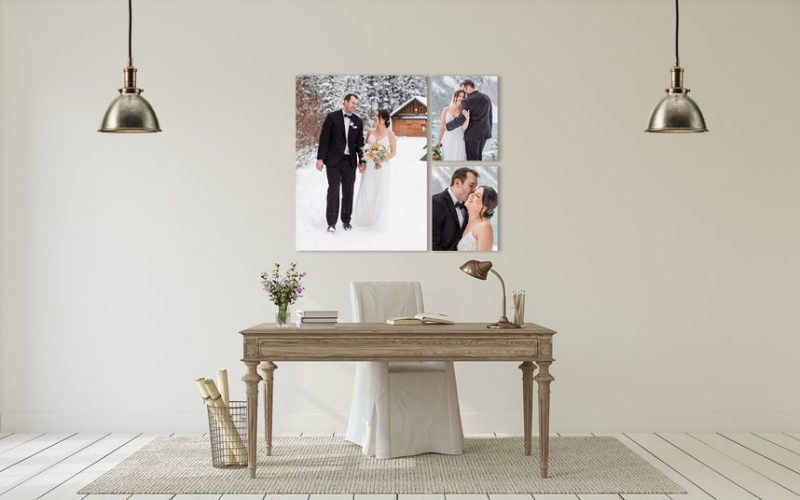Chateau Lake Louise winter wedding of a bride and groom walking in the snow shown as wall art
