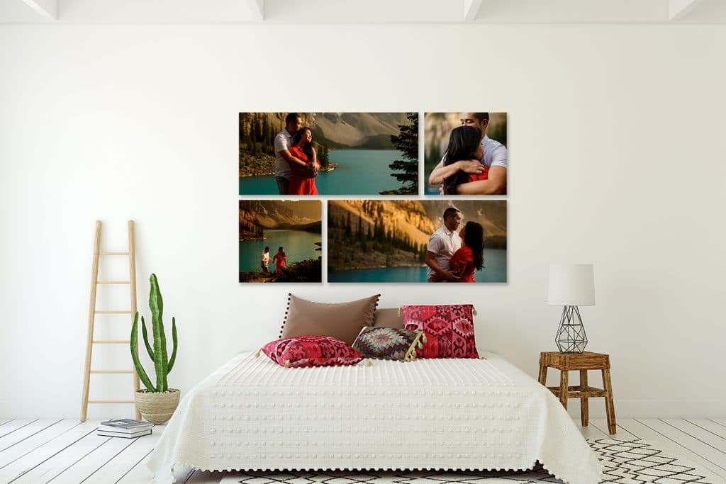 a photograph of Moraine Lake displayed as four pieces of wall art pieces at Geoff Wilkings Photography Studio