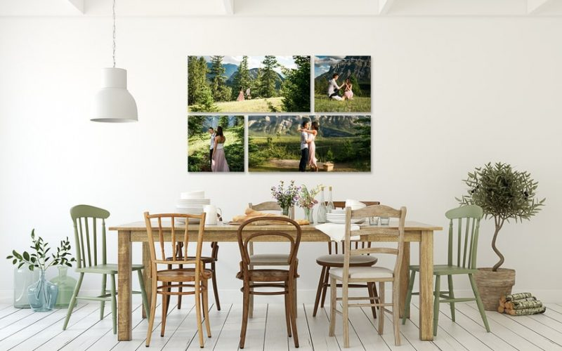 Banff engagement photos shown as hanging artwork in a clients home