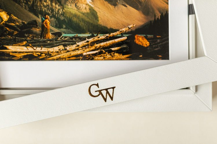 Geoff Wilkings Photography Portrait Box containing matted prints from an engagement shoot at Moraine Lake