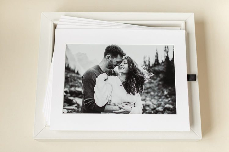 Moraine Lake engagement photographed matted within portrait box ready to hang in clients home