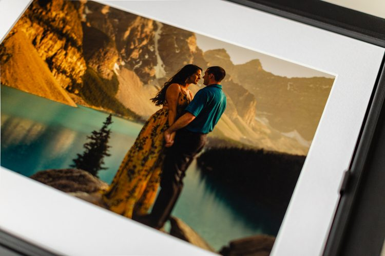 Moraine Lake engagement shoot with finished matted prints displayed in a 11x14 inch portrait box